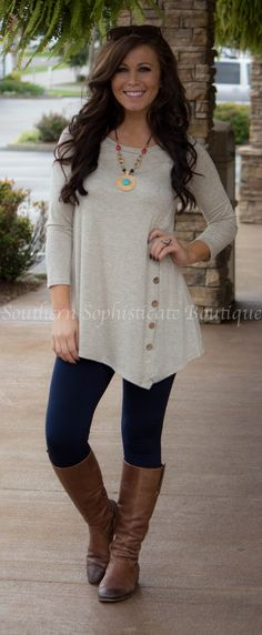Oatmeal Button Front Tunic / Southern Sophisticate Boutique Southern Boutique Clothing, Boutique Tops, Nouveau Look, Asymmetrical Sweater, Asymmetrical Design, Asymmetrical Tops, Fall Winter Outfits, Cute Fall Outfits, Autumn Winter Fashion