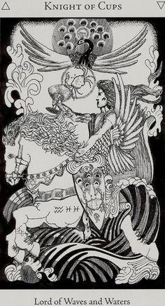 Knight of Cups - Hermetic Tarot by Godfrey Dowson Tarot Card Decks, Tarot Cards, Knight Of Cups Tarot, Hermetic Tarot, Cup Tattoo, Le Tarot, Alchemy Symbols, Tarot Card Meanings, Cartomancy