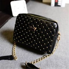 Fashion Candy Color Womens Artificial Leather Rivet Chain Embossed Messenger Bags Satchel Shoulder/Hand Bag