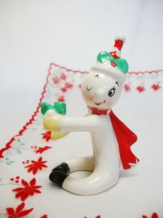 vintage porcelain snowman japan candle hugger
