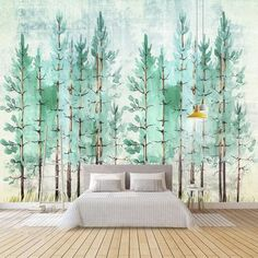 Tree wall Decal Wall Sticker Baby Nursery Peel and Stick Wallpaper Wall Decor-Green Forest Decal for Living room Playroom Mural, Wall Murals, Wall Art, Palm Wallpaper, Forest Mural, Room Wall Painting, Cleaning Walls, Plant Wall, Tree Wall