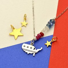 silver charm, flag charm, american flag charm, Americana jewelry, patriotic jewelry, red white and blue jewelry