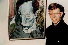 David Bowie with his 1976 painting of Iggy Pop, Portrait of J.O.