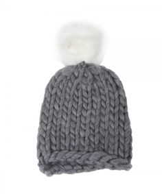 D&Y Chunky Yarn Beanie With Faux Fur Pompom Hat
