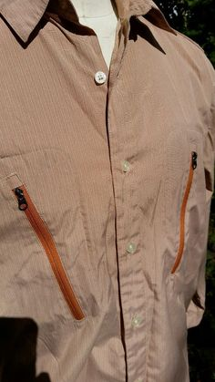 Mens PATAGONIA Long Sleeve Button Front Camping Fishing Hiking Shirt rusty tan L #Patagonia #ButtonFront