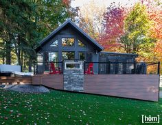 New Pre built Chalet et Home 4 seasons Expo Habitat, Mirror Lake, Shed Roof, Cottage Plan, Pole Barn Homes, Tiny House, Small Houses, Small Space Living, Ranch Style