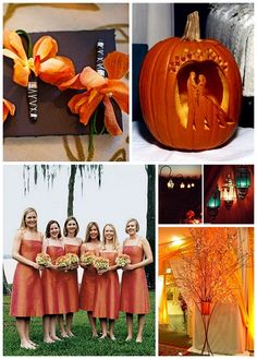 orange fall wedding. too bad i can't even think of getting married during football season...