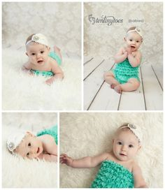6 month baby girl in petti romper on fur