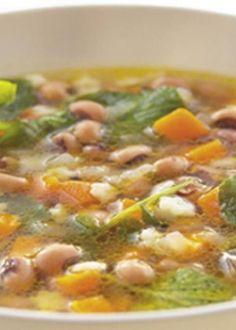 Sopa de feijão frade com agrião