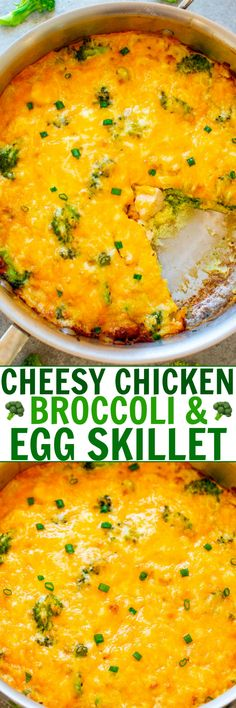 Cheesy Chicken Broccoli and Egg Skillet A healthy-ish brunch lunch or breakfast-for-dinner recipe that combines ju. Quiche Recipes, Broccoli Recipes, Brunch Recipes, Casserole Recipes, Easy Dinner Recipes, Breakfast Recipes, Easy Recipes, Side Recipes, Eat Breakfast