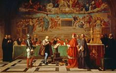 Galileo Galilei (1564-1642) before members of the Holy Office in the Vatican in 1633.