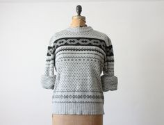 1970s grey nordic knit sweater