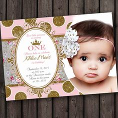 first birthday pink and gold invitation, darling pink and gold dots invitation customized