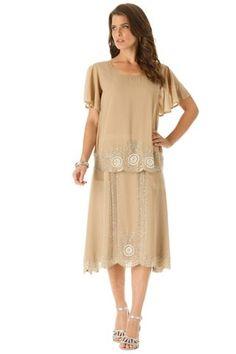 Sheath/Column Scoop Tea-length Chiffon Mother of the Bride Dress