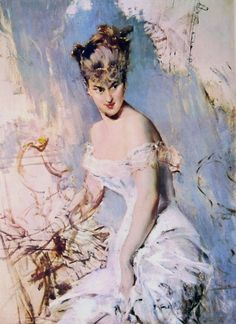''Portrait of Alice Regnault by Giovanni Boldini (Italian, painting meets fashion illustration. Boldini's relentlessly animated style can get wearisome but at his best he could fill a picture with sparkling life. Giovanni Boldini, John Singer Sargent, Italian Painters, Italian Artist, Sr1, Edgar Degas, Art Academy, Figure Painting, Great Artists