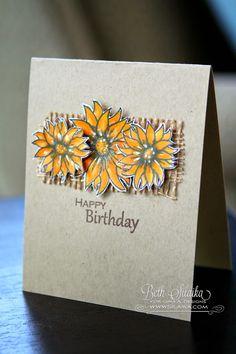 Gina K. September Inspiration Blog Hop: Day Two burlap birthday sunflower card by Beth Silaika