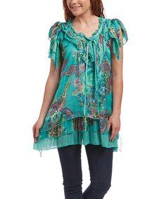 Look at this #zulilyfind! Pretty Angel Green Floral Ruffle Linen-Blend Tunic by Pretty Angel #zulilyfinds