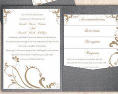 Printable Wedding Invitation Set Pocket-Customized jpeg files 5x7- EDITED File DIY Download
