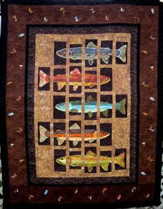 Fish Fishi Fishing ~ this is a great idea for a wall quilt Quilting Projects, Quilting Designs, Sewing Projects, Fish Collage, Wildlife Quilts, History Of Quilting, Fish Quilt, Quilted Throw Blanket, Man Quilt