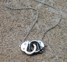 Celebrity HAndcuff Necklace Sterling SIlver with by StringofLove, $29.00