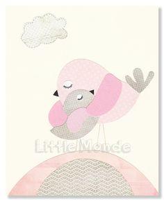 Pink And Grey Nursery Baby Girl NurseryNursery Art by LittleMonde