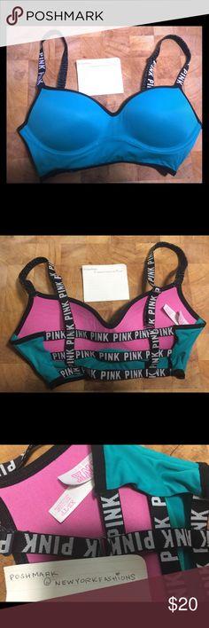 PINK VS - Caged Bra (Teal) Never worn. Popular style. Size XS PINK Victoria's Secret Intimates & Sleepwear Bras