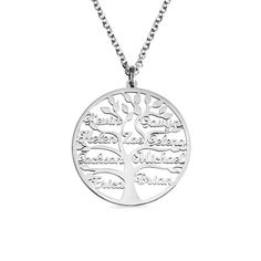 Engraved Family Tree Name Necklace Stainless Steel tree of life necklace Name Necklace Silver, Dainty Diamond Necklace, Monogram Necklace, Engraved Necklace, Diamond Earrings, Pearl Necklace, Family Tree Necklace, Tree Of Life Necklace, Gifts For Family