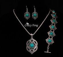 Haute qualité Turquoise pendentif + Bracelet + boucles d'oreilles ensembles de bijoux tibétain argent plaqué mode bijoux Set pour les femmes livraison gratuite(China (Mainland))