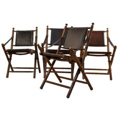 Set of 4 Leather Hunting Chairs | From a unique collection of antique and modern side chairs at https://www.1stdibs.com/furniture/seating/side-chairs/