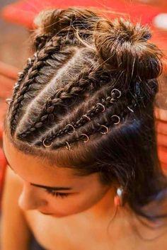 Braided Hairstyles Dance Audition Hair Braided Buns Half-Up With ha. - Braided Hairstyles Dance Audition Hair Braided Buns Half-Up With hair rings attached t - Braided Bun Hairstyles, Headband Hairstyles, Cool Hairstyles, Braided Buns, Hairstyle Braid, Messy Buns, Hairstyles Haircuts, Wedding Hairstyles, Rave Hair