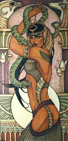 Items similar to Cleopatra original oil painting on Etsy Egyptian Mythology, Egyptian Goddess, Egyptian Queen, Egyptian Art, Cleopatra Tattoo, Nefertiti Tattoo, Bastet, Bild Tattoos, Inspiration Art