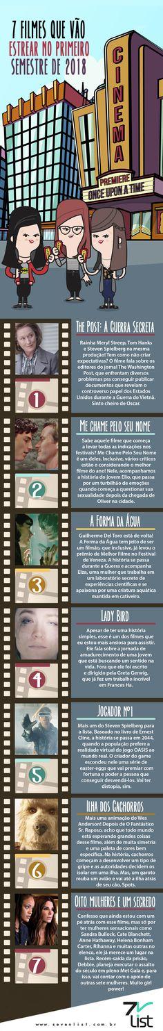 Vamos começar o ano falando de filmes? O ano de 2018 promete com relação ao cinema, foi pensando nisso que listamos os 7 filmes que vão estrear no primeiro semestre de 2018. #Sevenlist #Infográfico #Ilustração #Design #Listas #Estreiasde2018 #Cinema #Movies #Estreias #Filmes2018 #Dicasdefilmes #Lançamentos2018 #Novidades #Aventura #Animação #Drama #Suspense #Romance #Thepostaguerrasecreta #Mechamepeloseunome #Aformadaágua #Ladybird #Jogadorn1 #Ilhadoscachorros #Oitomulhereseumsegredo