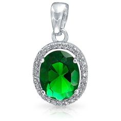 Bling Jewelry Bling Jewelry Bridal Oval Cz Pendant Crown Setting... ($27) ❤ liked on Polyvore featuring jewelry, pendants, green, bridal jewelry, sterling silver crown pendant, charm pendant, cubic zirconia pendant and crown pendant