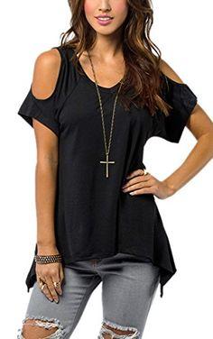 Zeagoo Damen Locker Bluse Top Schulter Frei T shirt Casual Party