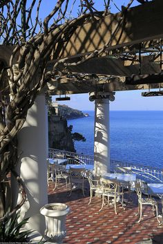 Sorrento  Italy. Oh wow, we sat right here. This is at the hotel where we stayed, The Bellevue Syrene. Vesuvius is straight across the bay, a perfect view.