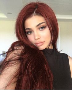 Pink-Red with Yellow Highlights - 20 Cool Styles with Bright Red Hair Color (Updated for - The Trending Hairstyle Bright Red Hair, Brown Hair Colors, Dark Red Hair Burgundy, Deep Red Hair Color, Maroon Hair, Jenner Hair, Kylie Jenner Red Hair, Pinterest Hair, Hair 2018