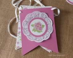 Want to know more about Shabby chic Paper Doily Crafts, Doilies Crafts, Bird Party, Tea Party, Cumpleaños Shabby Chic, Baby Shower Announcement, Paper Banners, Diy Banner, Fiesta Party