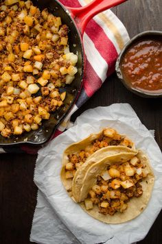 Vegan potato and chorizo tacos. Serve the crispy bits of spicy chorizo mixed with the slightly golden potatoes on a warm tortilla and top with salsa.