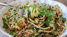 Raw zucchini noodles and veggies
