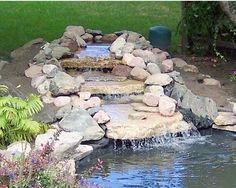 Backyard Water feature ideas, DIY waterfalls, ponds and other fun waterfall designs.