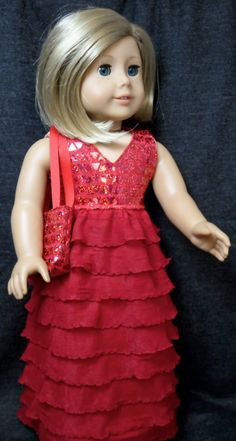 Red Fancy Party Dress with Purse by buttonandbowboutique on Etsy, $24.00