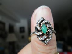 Vintage Deco 1.40ctw Emerald & White Sapphire Gold/925 Sterling Silver Ring Size 9.5, Wt. 4 Grams