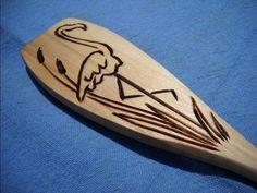 Flamingo Wooden Flat Spoon Wood Burned Pyrography by notjustknots, $5.00