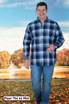 Chemise grande taille pour homme. #menstyle #homme #fort #men #shirt #collection #automne Men's Fashion, Trend Fashion, Sweat Shirt, Blazer, Button Down Shirt, Men Casual, Blouse, Collection, Mens Tops