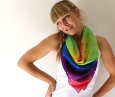 Tie Dye Silk Scarf  Rainbow  Hand Dyed Silk Scarf  by TheSilkMoon, $35.00