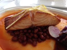 Wild Salmon with smokey Sea Island purple cape beans, cabbage, beets and Florida tomatoes from Spencer's for Steaks and Chops Spring 2013 menu at Hilton Orlando.