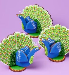 Cookie peacocks by Julia M Usher. Photo by Steve Adams. From Julia M. Usher's Ultimate Cookies (Gibbs Smith Publisher)