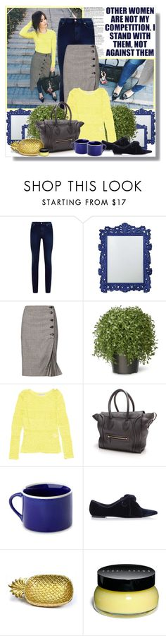 """Denim Lemonade."" by peony-and-python ❤ liked on Polyvore featuring 7 For All Mankind, Howard Elliott, Banana Republic, National Tree Company, Emilio Pucci, CÉLINE, Peter Hall & Son, Tory Burch, Bobbi Brown Cosmetics and StreetStyle"
