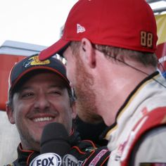 Dale and Tony at Martinsville Nascar Martinsville, Nascar Sprint Cup, Tony Stewart, Racing Team, Champion, Smoke, Fan, Instagram Posts, Hand Fan