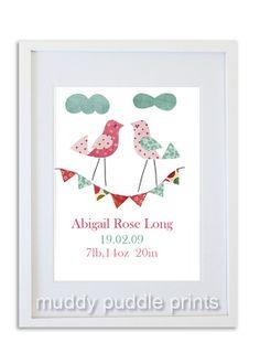 Personalized Nursery Art, Girls room art, Personalised, Kids room wall art, baby nursery, baby gift, Nursery decor - 2 little birds. on Etsy, $15.00